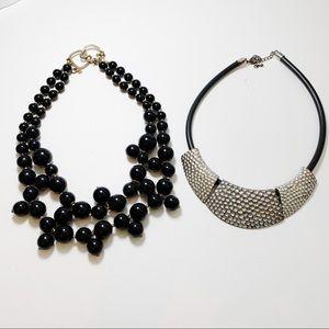 Set of 2 Black Vintage Statement Necklaces J65